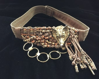 Classic 70s or 80s Adjustable Belt by Rebecca Adorned with Wolf Head, Braided Tassels with Beads