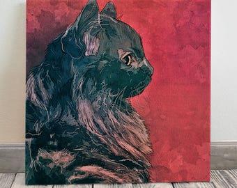 Custom Pet Portrait, Cat Memorial Portrait on Canvas, Pet Painting, Pet Memorial, Pet Loss Gift, Cat Lover Gift, Cat Illustration,