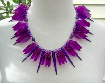 """Radiant Purple Lucite Slabs, Amethyst, Long Lucite """"Spikes,"""" Sterling Clasp, Dramatic Sculptural Statement Necklace Set by SandraDesigns"""