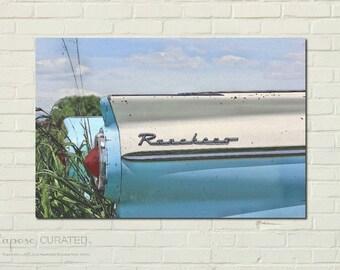 Art Print on Metal: RANCHERO I - country art, vintage ford decor, rural wall art, farm art, vintage car art, ford ranchero, country drawing