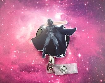 Darth Vader Steel Cord Heavy Duty Star Wars Nerd Geek Badge Reel Retractable ID Holder Nurse CNA CPhT Technician Clip Mens Womens