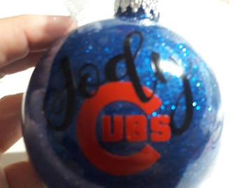 Baseball Glass Glitter disc Ornament; Personalized with your favorite logo and name