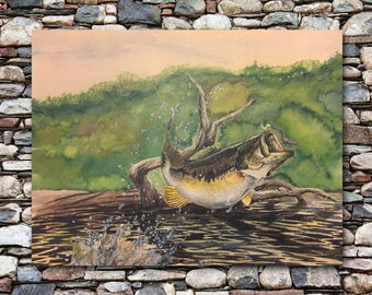 "Largemouth Bass Watercolor Painting and Fish Print | Largemouth Bass Fishing Artwork | ""King of the Pond"" - 8x10 Inches"