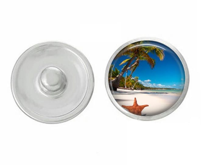 Palm Tree Beach Snap - Compatible with Studio66 LLC -  Gingersnaps - Magnolia and Vine - Noosa 18-20mm Base - Handpressed Snaps