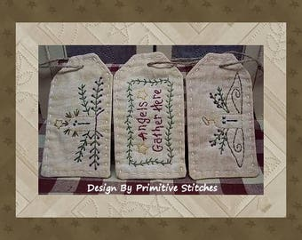 Angels Gather Tag Collection-Primitive Stitchery  E-PATTERN by Primitive Stitches-Instant Download