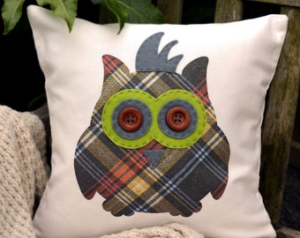"""Owl Cushion - Punk Rock! Vibrant green & dark grey, """"The Owls of Hoots"""" Collection, Tamsin Reed Designs"""