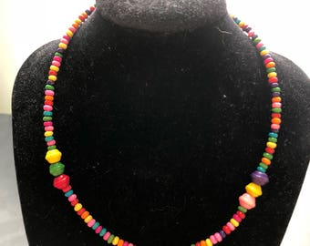 Rainbow Wooden Beaded Necklace