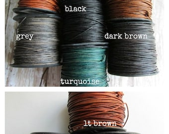 0.5mm Natural Dye Leather, .5mm round Leather Cord, Leather cord, Round cord, Small Leather Cord, ClassicBead, Natural Dye Leather