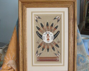 Vintage native american sand art tile american indian art collectible native american sand art shield face lace navajo art midwest art indian art western wall art best gift idea f146 freerunsca Images