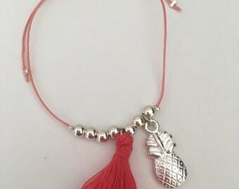 Bracelet sliding nylon, silver beads, charm and tassel