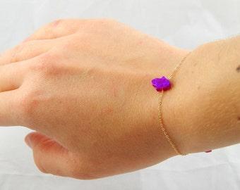 SALE Opal purple hamsa bracelet, hamsa bracelet, 14 kt rose gold bracelet, hamsa charm bracelet, minimalist hamsa charm bracelet 154