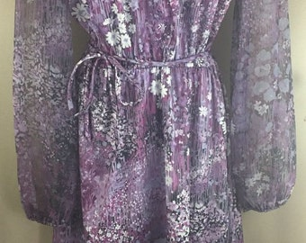 Vintage 1960's Lady Carol of New York Gray Plum Psychedelic Daisy Print L/S Knee-Length Dress Medium