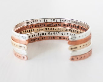 Personalized bracelet. Personalized gift. Inspirational bracelet. Inspirational gift for her. Customizable silver, gold, or rose gold cuff.