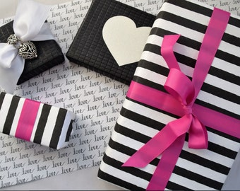 Luxury Black and White Striped Gift Wrap (SET OF 2 ROLLS)