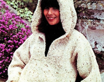 Knit Hooded Sweater - PDF Pattern - INSTANT DOWNLOAD - Knit Sweater Pattern