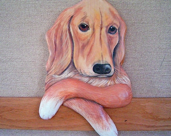 CUSTOM PET PORTRAIT - Hand Carved and Hand Painted - Golden Retriever named Goldee by Will Kay Studios