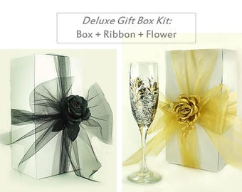 20 Glassware Gift Box Kits - 10x5 White Box + Ribbon + Rose Topper - Groomsmens Gifts Favor Gift Box Box Kits for Wine Champagne Beer Glasse