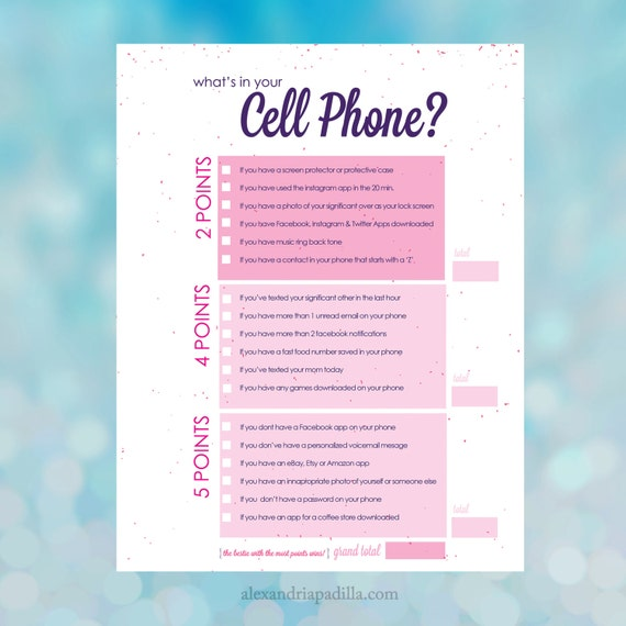 It is an image of Canny What's in Your Cell Phone Game Free Printable