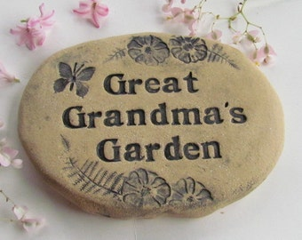 Great Grandma gift. Great grandma sign. Rustic outdoor decor.  Plant marker, Flower garden sign. Garden stone with Butterflies and flowers.