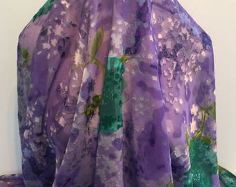 17-297 Burn Out Lilac Purple with Green Flower- Sold by the Yard