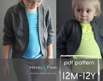 Slouchy Cardigan pattern and tutorial PDF 12m - 12y easy sew sweater bolero