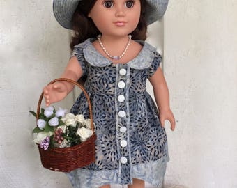 18 inch doll clothes. Scalloped blue Doll Dress, wide brimmed doll Hat, and hand beaded doll Necklace for 18 inch dolls.