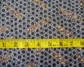 vintage Gray Fabric, Four Yards plus, sewing supplies, vintage cotton fabric, circle designs, flower designs, black gray, yellow red green