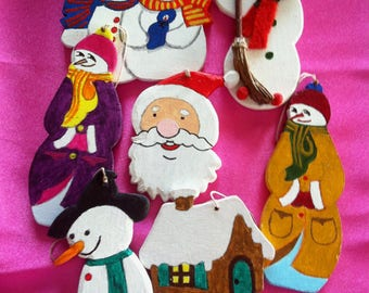 Set of 7 Figurines wooden painted