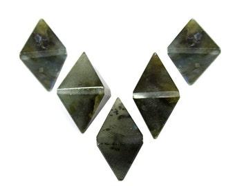 FIVE (5) Labradorite Diamond Shaped Stone Point - Diamond Shaped Labradorite Perfect for Wire Wrapping - RK50B18b-06 Bulk 5