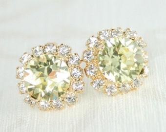 Crystal earrings, yellow crystal earrings, wedding jewelry, bridesmaid earrings, Swarovski earrings, Lemon yellow crystal earrings, Jonquil