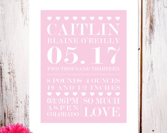 """Personalized Birth Announcement Art Print """"So Much Love"""" in Pink"""
