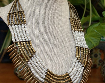 Tribal white and antique gold beads necklace