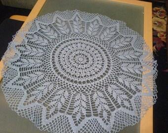Large round crochet blanket white