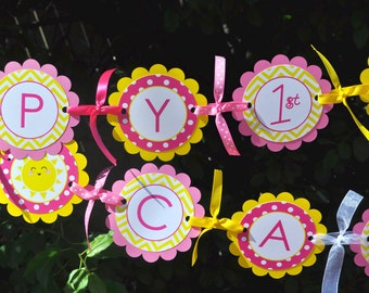 Birthday BANNER Lemonade and Sunshine - 1st Birthday Party Decorations - You Are My Sunshine - Pink Lemonade Party - Birthday Banner
