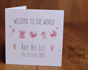 Personalised New Baby Girl Card, Greeting Card, Washing line, Bunting, Child, Welcome to the World, Congratulations, Baby birth Announcement