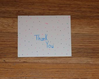 Dotted bakround thank you card - variety of colors