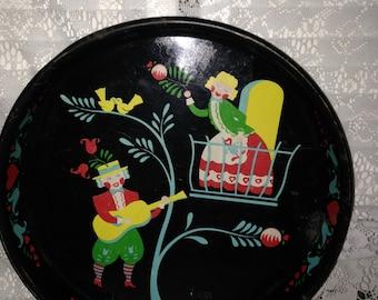 Mid Century Dutch Folk Art Lovebirds Metal Masonware Serving Tray