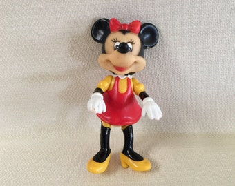 Vintage Walt Disney Minnie Mouse Hard Rubber Plastic Toy With Movable Legs Arms and Head Product of Hong Kong