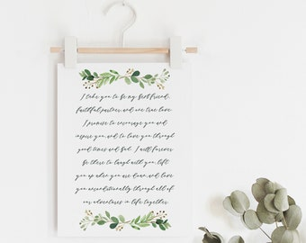 Paper Anniversary Gift - First Anniversary Gift - Wedding Vow Print - Vow Art - Wedding Vow Keepsake - Wedding Gift - Frame Not Included
