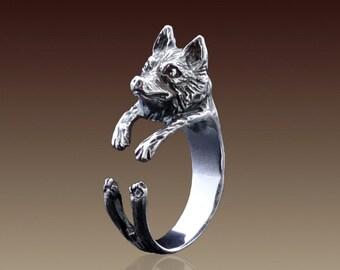Siberian Husky Ring, Silver Husky Dog, Sterling Silver Ring, Animal Ring, Animal Jewelry, Handmade Ring, Dog Ring, Dog Jewelry, Husky Puppy