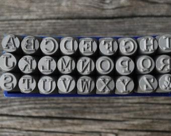 """Metal Alphabet Stamp Set -Metal Stamping Kit in """"Typewriter"""" Font 6mm (1/4)LARGE - Uppercase- Metal Supply Chick-Steel Stamps for Metal"""