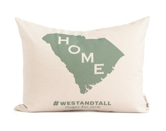 Home State Pillow, Map Pillow, Housewarming Gift, Hashtag Pillow, Throw Pillow, Cotton Anniversary, Gift for Him, Gift For Her