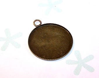 A round 25 mm pendant finding antique globes for cabochons 25 mm