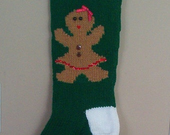 Personalized Knitted Gingerbread Girl Christmas Stockings for 2018