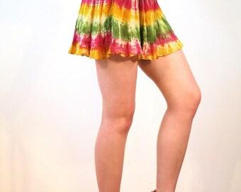Chichi, 90s Tie Dye Mini Skirt XS, India Cotton Rainbow Mini Skirt, Rasta Mini Skirt, Metallic Skirt, Boho Mini Skirt, Vintage Hippie Skirt