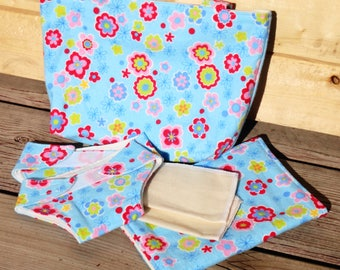 Doll Diaper Set, Doll Change Set - Floral Print