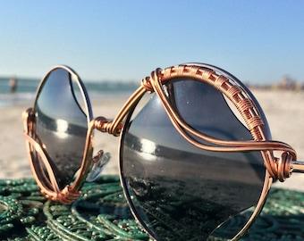 Artisan Copper Wire Wrap Sunglasses, Spunglasses, Eyewear Eyeglasses Sunnies, Unisex Mens Womens Sun glasses Sunglasses, Free Shipping NEW