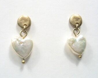 The Wisdom Heart Nugget Earrings - gold and pearl stud earrings