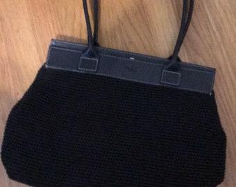 The SAK by Elliot Luca black crichet/ faux keathrt purse New Condition