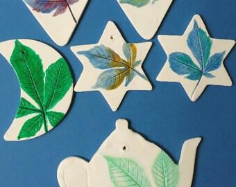 chestnut imprint leaf home decoration wall hanger necklace clay